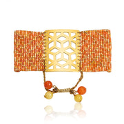 ReRe Wide Orange, Gold Beaded bracelet