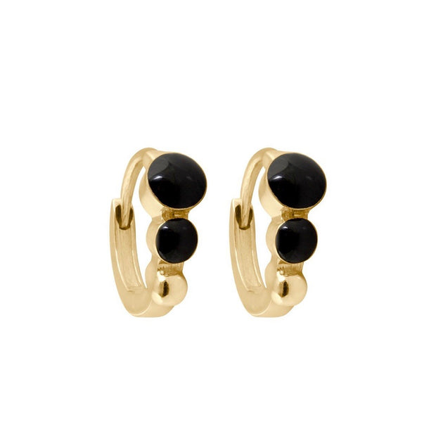 Classic GiGi Black Hoops, Yellow Gold