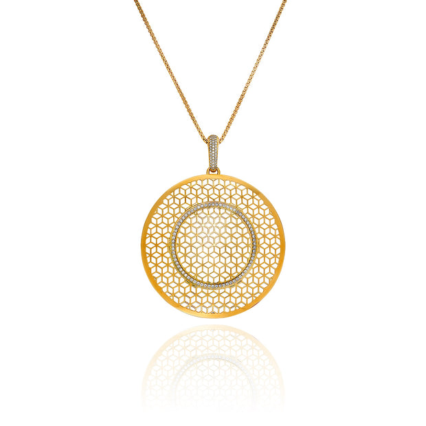 Large Circle Hex Pendant on Chain with Diamonds