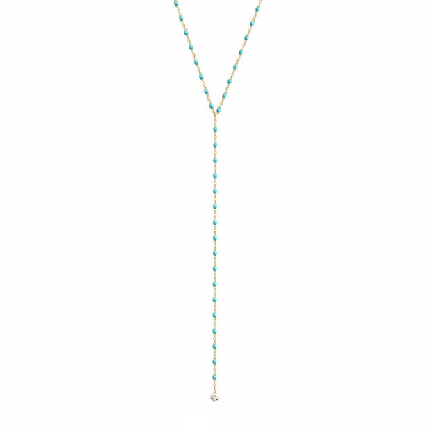 Mini GiGi Y Party Turquoise Green necklace, yellow gold, 19.7""
