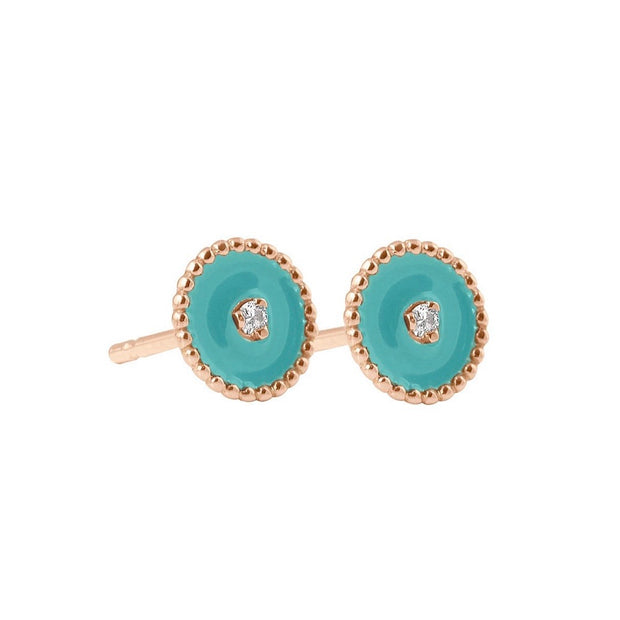 GiGi North Star, Diamonds, Turquoise Green Resin Earring, Yellow Gold