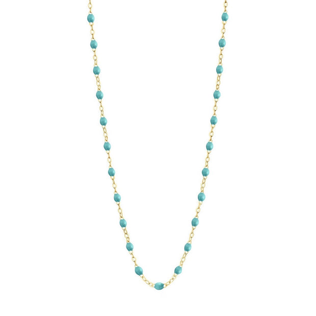 Classic GiGi Turquoise Green Necklace, Yellow Gold, 16.5""