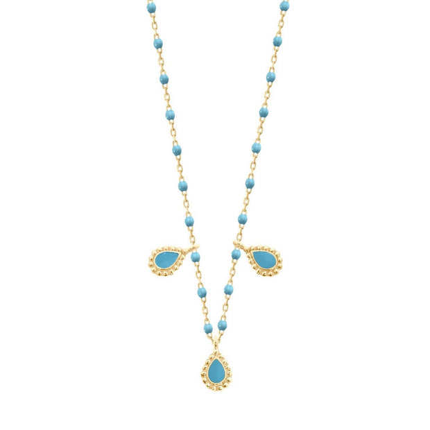 Turquoise Mini 3 Lucky Cashmere Necklace, Yellow Gold, 16.5""
