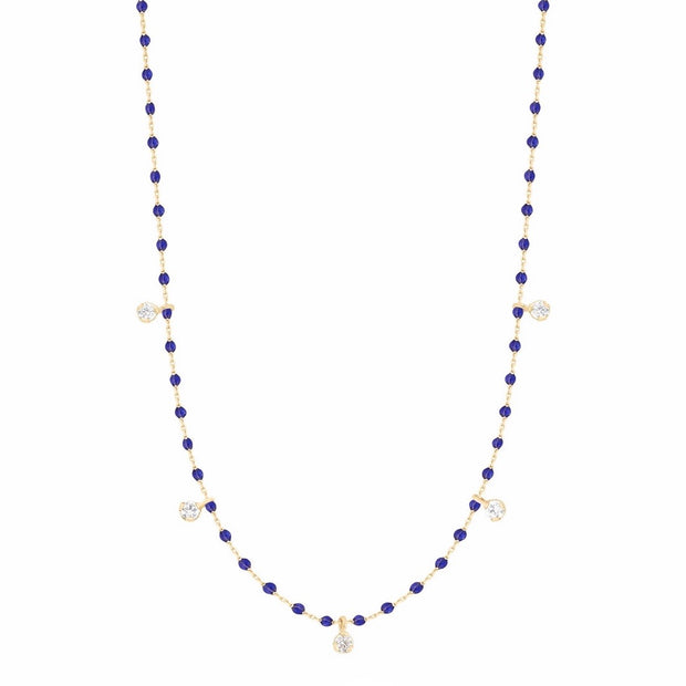 Mini GiGi Lapis necklace, yellow gold, 5 diamonds, 21.7""
