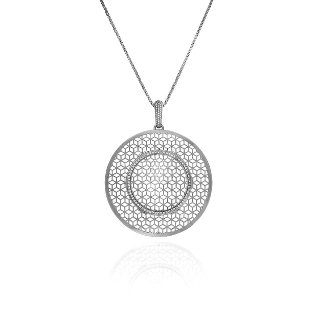 Large Silver Circle Hex pendant on Chain with White Sapphires