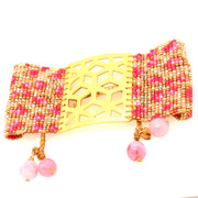 ReRe Wide Brown, Gold, Bright Pink Beaded Bracelet