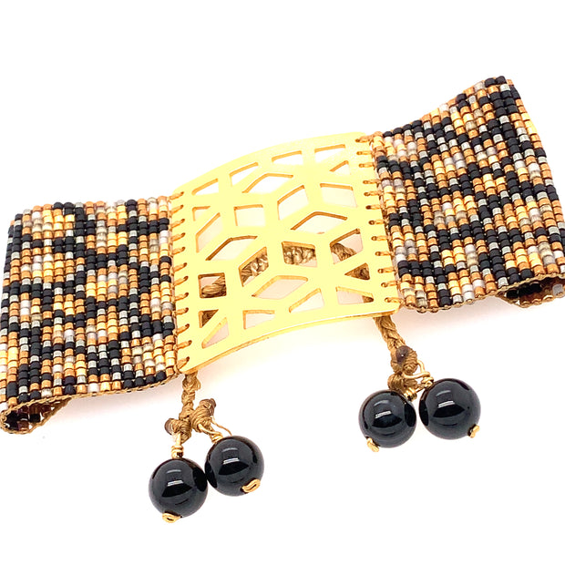 ReRe Wide Black and Gold Leopard Beaded Bracelet