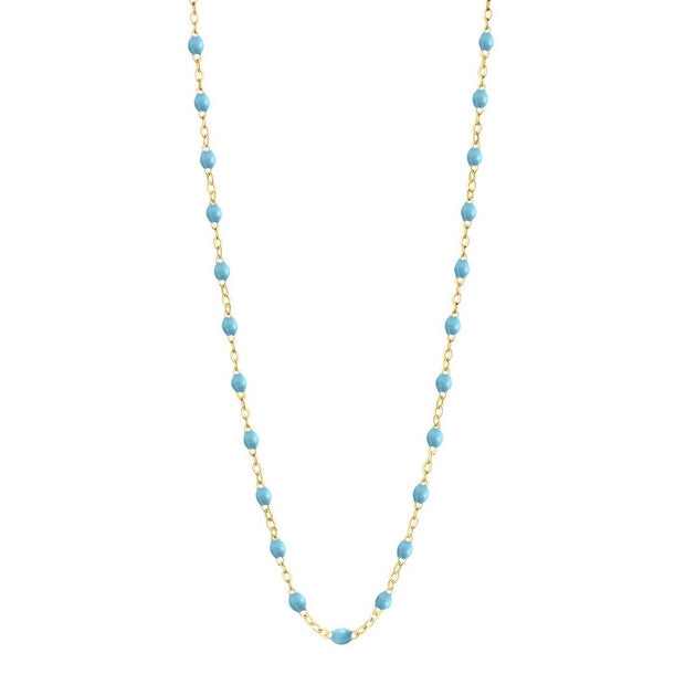 Classic Gigi Turquoise necklace, yellow gold, 16.5""