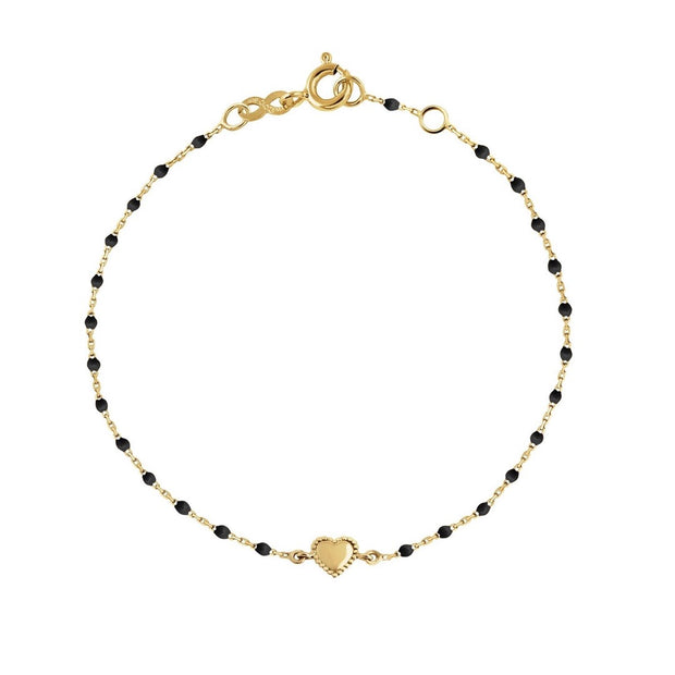 Lucky Heart Mini GiGi Black Bracelet, Yellow Gold, 6.7""