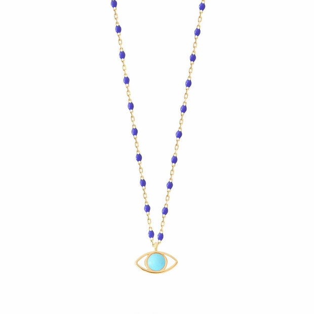 Eye Mini GiGi Bleuet necklace, yellow gold, 16.5""