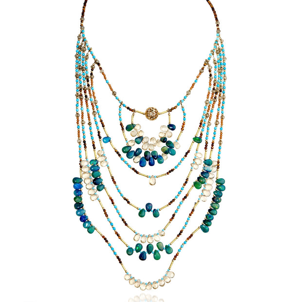 Multi-strand beaded bib necklace