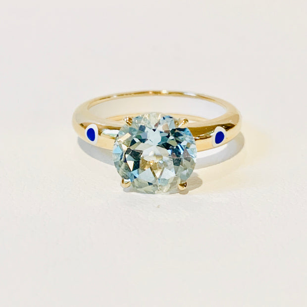 Gold, Blue Topaz, Ceramic Detail Ring