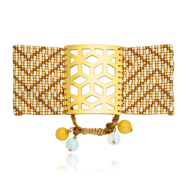 ReRe Wide White, Gold Beaded bracelet