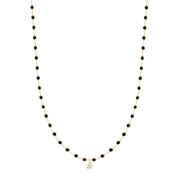 Mini GiGi Black necklace, yellow gold, 1 diamond, 15.7""