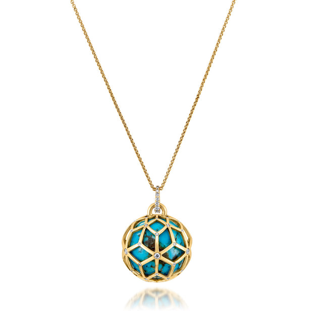Large Closed Hex Ball, Turquoise, Diamond Pendant Necklace