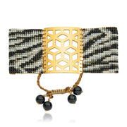 ReRe Wide Black, Grey, Gold Zebra Print, Beaded Bracelet