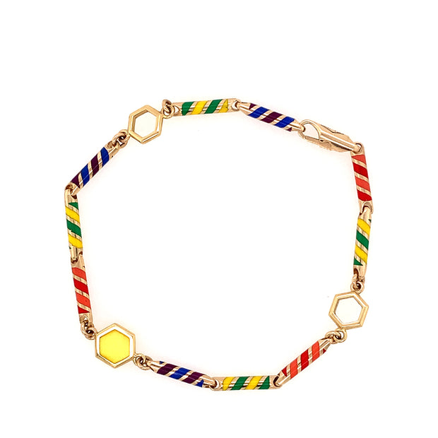 Gold and Candy Colored Ceramic Link Bracelet