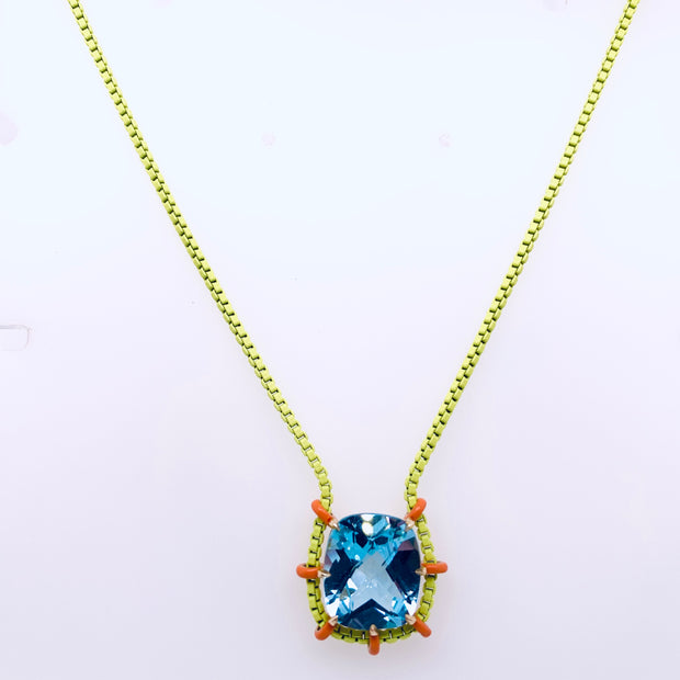Blue Topaz, Ceramic Colored Chain Necklace