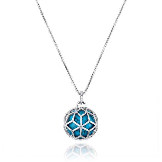Large Closed Silver Hex Ball, Turquoise pendant necklace