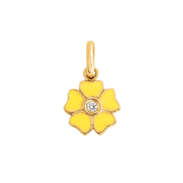 Flower Lemon Diamond Pendant, yellow gold