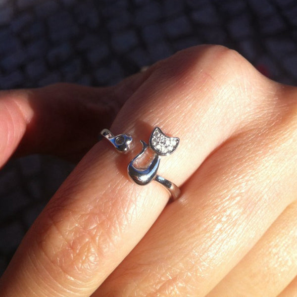 Cat Ring Sterling Silver with Cubic Zirconia Stones - Resizable - Rapture360.com