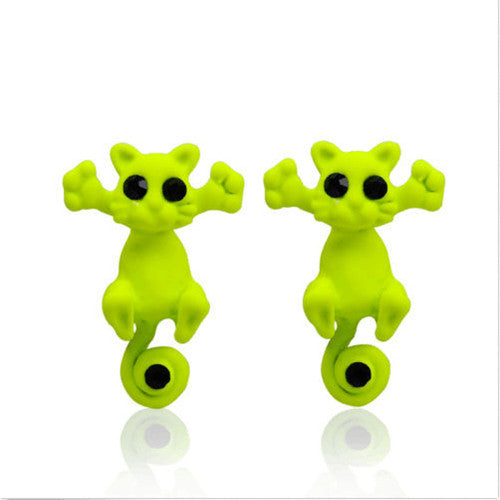 Colorful Cat Stud Earrings - 11 colors - Rapture360.com
