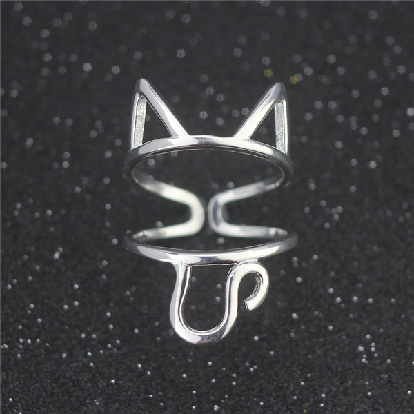 Sterling Silver Cat Ring - Resizable - Rapture360.com