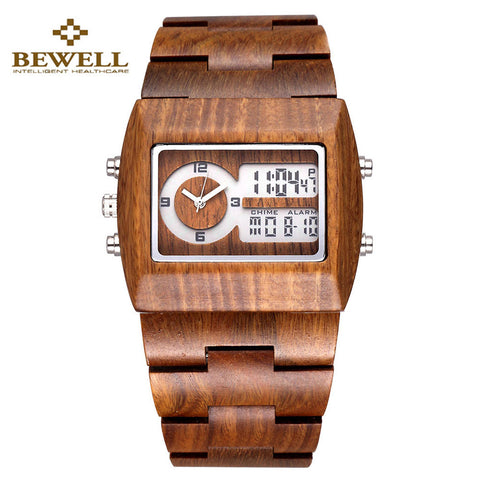 Bewell Wooden Watch - Men Dual Time Watch - Rapture360.com