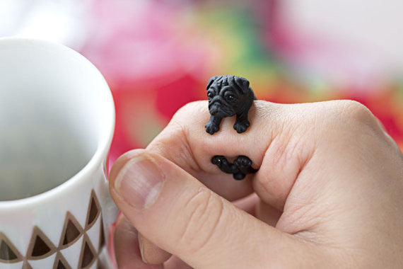 Handmade Pug Adjustable Ring - Rapture360.com