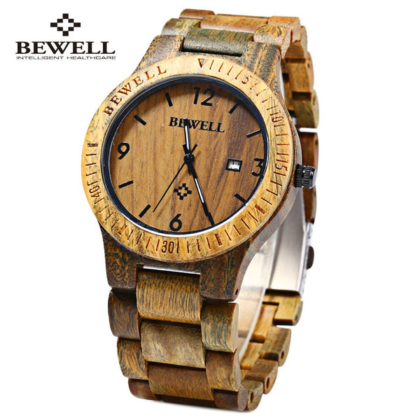 Vintage Men Wooden Watch with Calendar Display - Rapture360.com