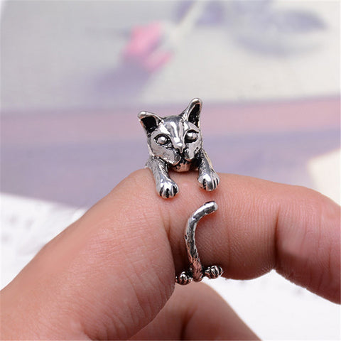 Cute Cat Ring - Vintage Silver Plated - Rapture360.com