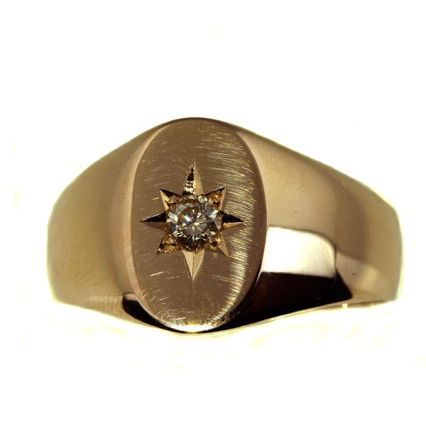 Rose Gold Men's Diamond Signet Ring - What Women Want Jewellers