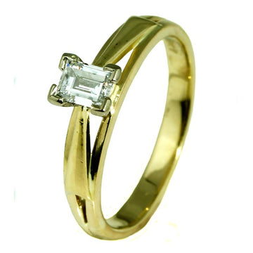 Rectangle Emerald Cut Diamond Engagement Ring