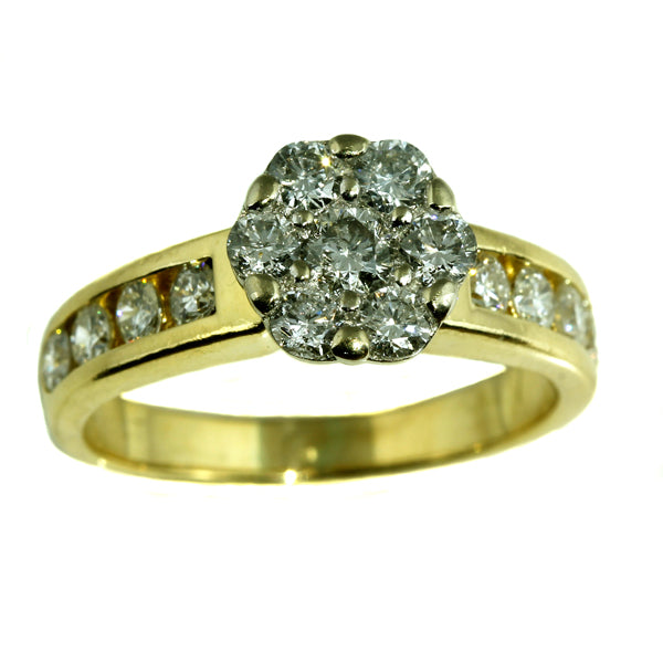 Diamond Cluster Gold Engagement Ring
