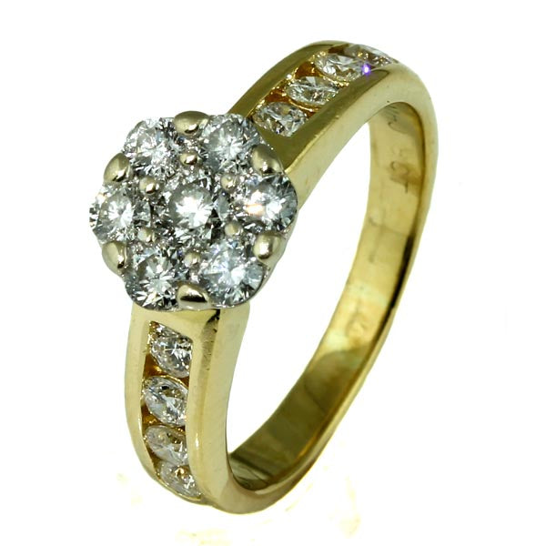 Diamond Daisy Cluster Engagement Ring