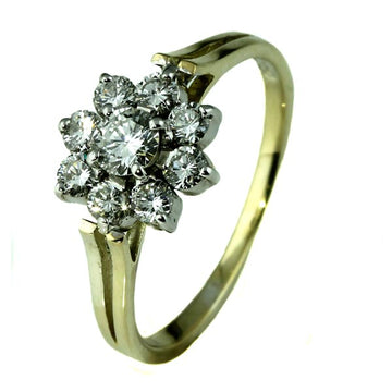 Diamond Daisy Cluster Gold Ring