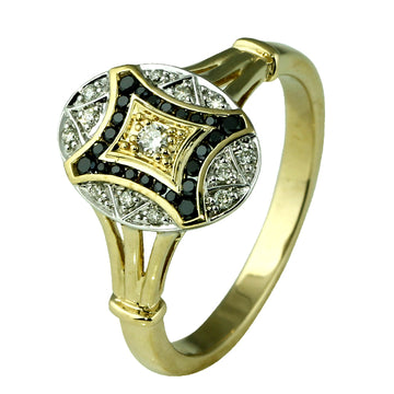 Art Deco Style Black Diamond Gold Ring - What Women Want Jewellers