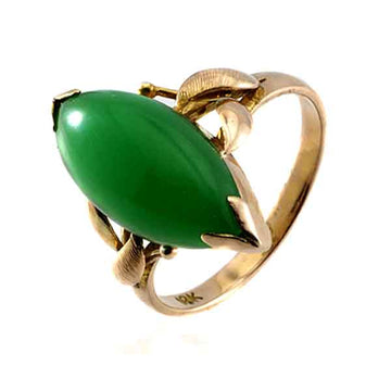 Vintage Chinese Jade Rose Gold Ring - What Women Want Jewellers