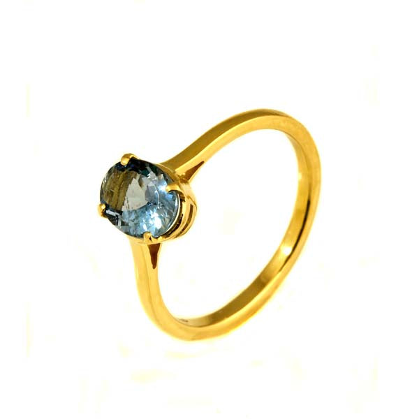 Dark blue aquamarine gold ring