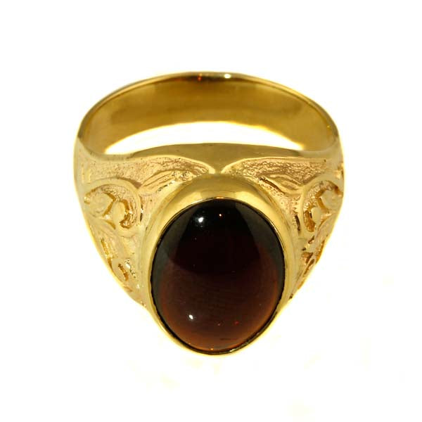Engraved Garnet Gent's Signet Ring - What Women Want Jewellers