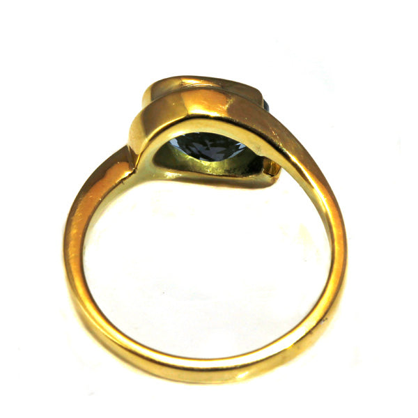 Oval aquamarine yellow gold commitment ring - What Women Want Jewellers