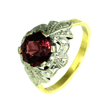 Art Deco Rhodolite Garnet Engagement Ring