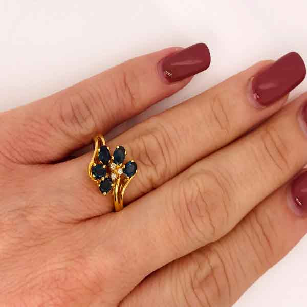Blue Sapphire and Diamond Cluster Ring - What Women Want Jewellers