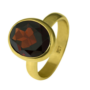Oval Red Garnet Gold Dress Ring