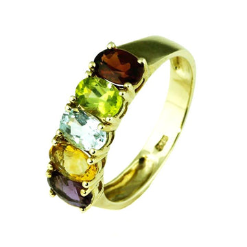 Multi Gem Stone Gold Dress Ring - What Women Want Jewellers