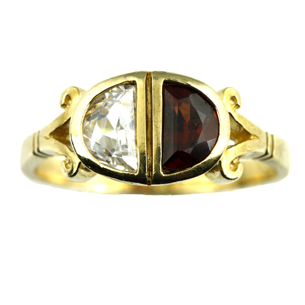 Ornate vintage gold zirconia and garnet ring - What Women Want Jewellers