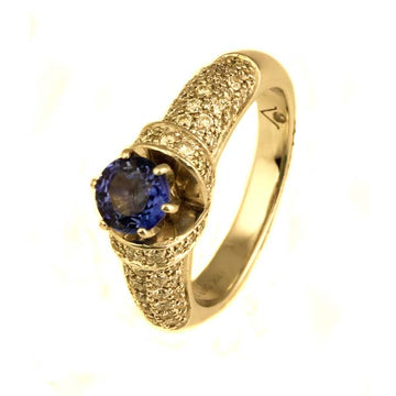 Handmade Tanzanite and Diamond Ring