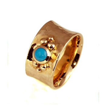 Handmade Turquoise Rose Gold Dress Ring