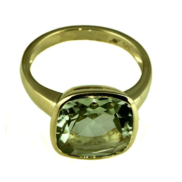 Square Green Amethyst Gold Ring - What Women Want Jewellers