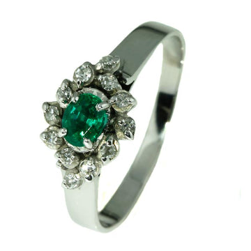 Emerald and Diamond Cluster Ring - What Women Want Jewellers